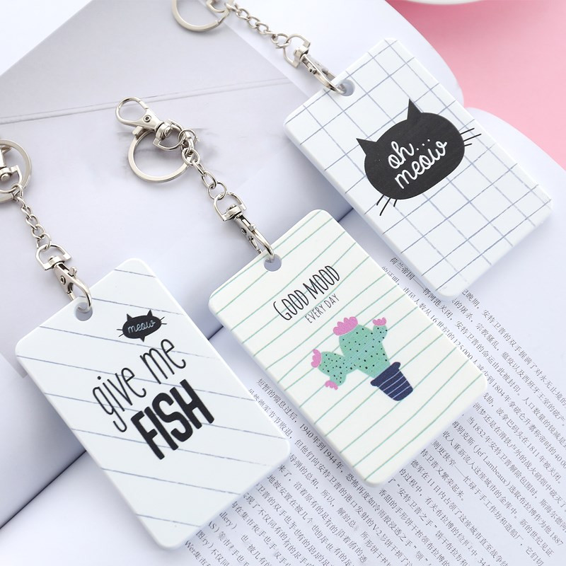 1PCS Cute Cartoon Cactus Cat Card Holder Women Cover Bag Kids Bus Name ID School Job Id Card Passport Holder Case With Key Bags