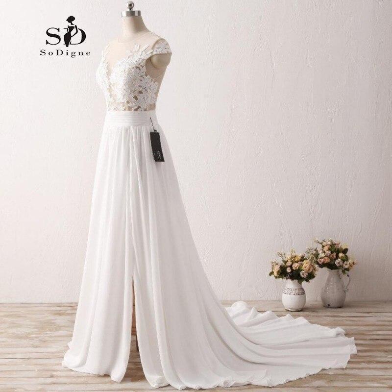SoDigne Bridal Dresses White Lace Appliques Wedding Dresses 2019 Cheap Chiffon Wedding Dresses Side Slit Beach Wedding Dress
