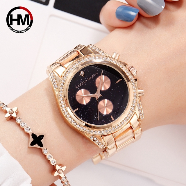 New Design Rose Gold Women Watch Japan Quartz Movement Rhinestones Luxury Diamon