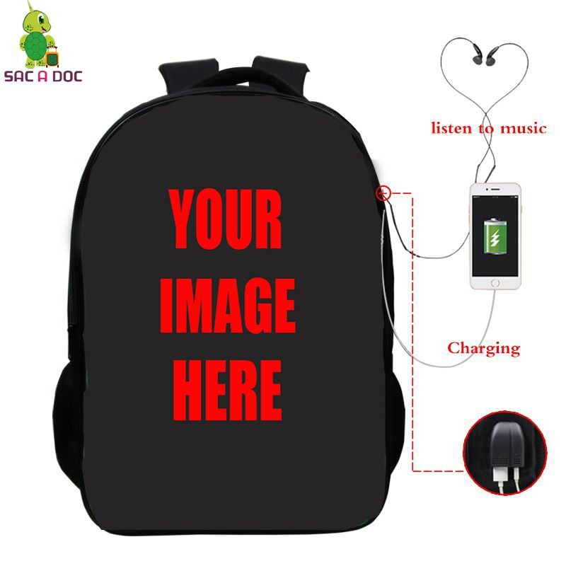 Customize Your Image Backpack Laptop Backpacks Multifunction USB Charge Headphone Jack Schoolbags For Women Men Travel Bags