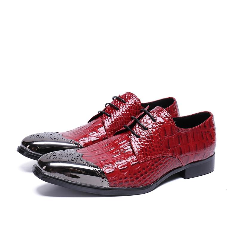 Металлический острый носок Мужская обувь кожаные туфли на шнуровке спереди обувь на низком каблуке платье Вечерние взлетно-посадочной пол...