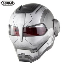 Racing Motorcycle Ironman Helmet Motocross Flip Up Robot Style Casco Moto Full Face Capacete Soman 515(China)