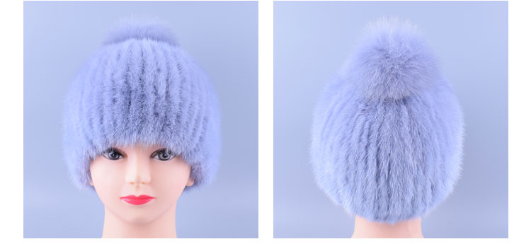 df34353ca5945 12colors Genuine Mink Fur Pompom Hat Caps for Women Hand Knitted ...