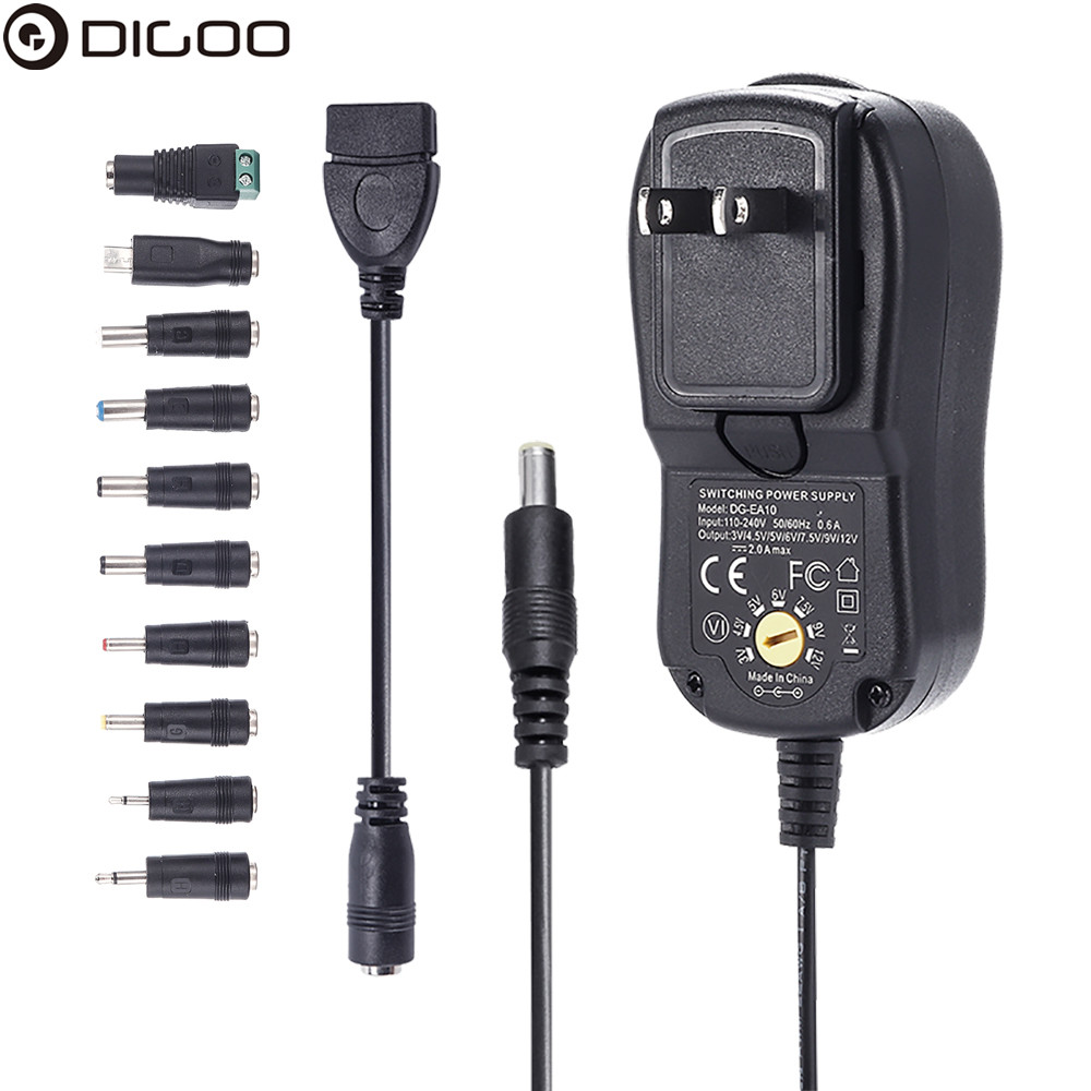 Digoo DG-EA10 Charger Adapter Plug Removable Version 3-12V Universal 10 Selectable Multi Voltage Switching Micro USB Plug Power