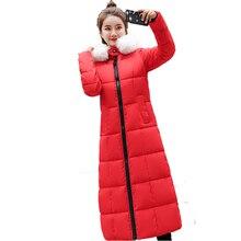 Long down cotton padded womens long knee fashion woman winter 2018 new Korean thick coat light mature  hot