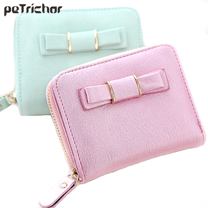 Korean Brand Design Pu Leather Bow Wallet Coin Bag Small Purse Zipper Short Lady Mini Purses Crad Holder Wallets For Women fashion women coin purses dots design mini girl wallet triple zipper clutch bag card case small lady bags phone pouch purse new