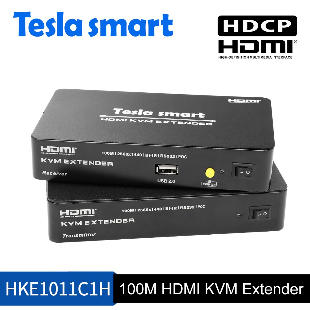 Tesla smart Multi-function HDMI KVM Extender 100M HDMI KVM+Audio Extender by CAT5e/6 (1 Extender TX+1 Extender RX)Tesla smart Multi-function HDMI KVM Extender 100M HDMI KVM+Audio Extender by CAT5e/6 (1 Extender TX+1 Extender RX)