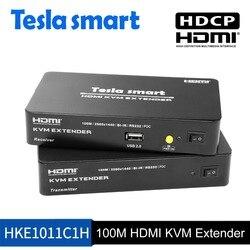 Tesla smart Multi-funktion HDMI KVM Extender 100 M HDMI KVM + Audio Extender durch CAT5e/6 (1 Extender TX + 1 Extender RX)