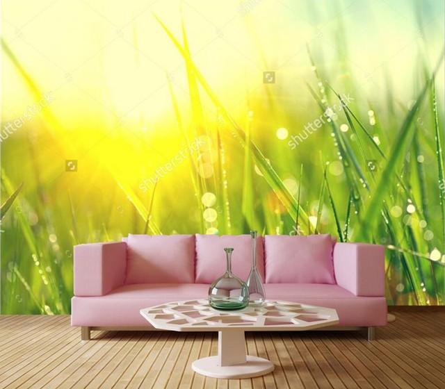 US $15.9 47% OFF Benutzerdefinierte foto wandmalereien, Frühling tau  frische grüne gras Großansicht tapete, wohnzimmer tv sofa wand schlafzimmer  3d ...