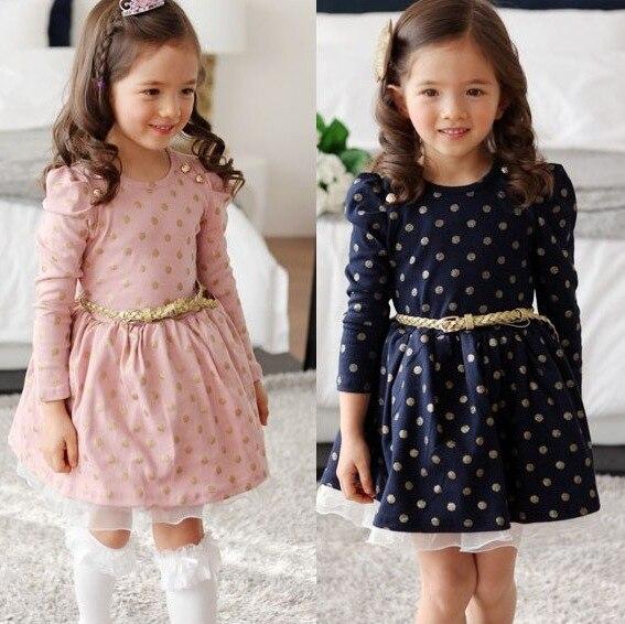 2 colors baby girl dress NEAT O-neck fashion girl dress dot lace cute girl evening dress girl long sleeve dress 3-7Y A0217