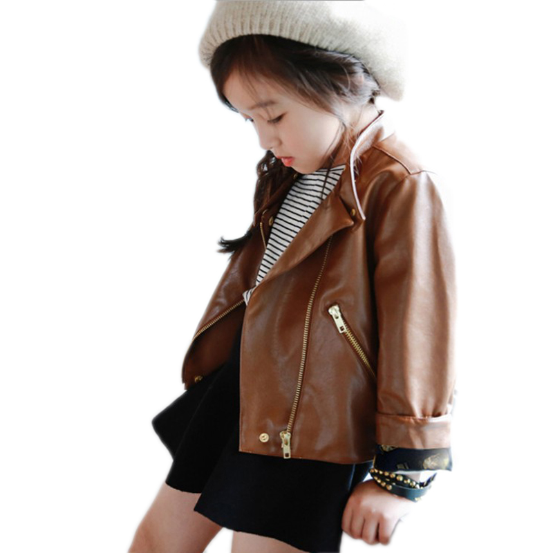 Kids Jacket Girls 2018 New Spring Baby Girl Jackets Solid PU Leather Toddler Girl Coat Turn Down Collar Kids Blazers Girls 5-11T стоимость