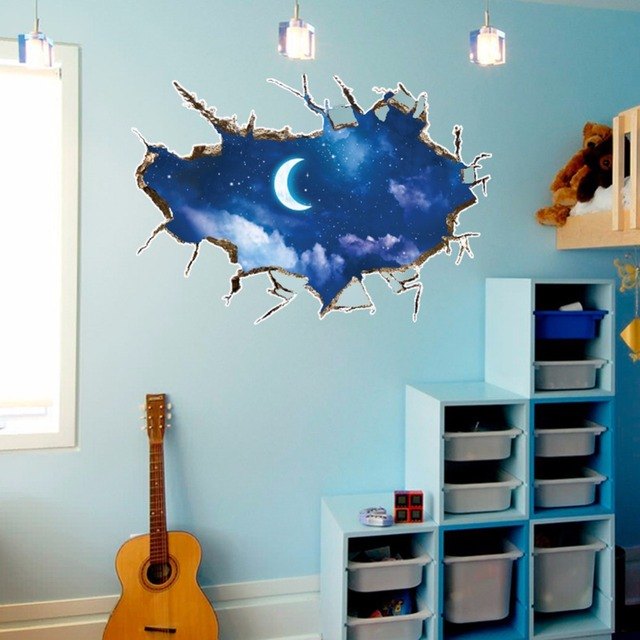 3d cracked wall moon sky wall stickers for kids rooms bedroom home