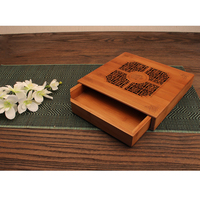 Tea Serving Bamboo Tray 25x24cm Chinese Kungfu Tea Table with Water Tank Total Size 9.84x9.45x1.77 inch