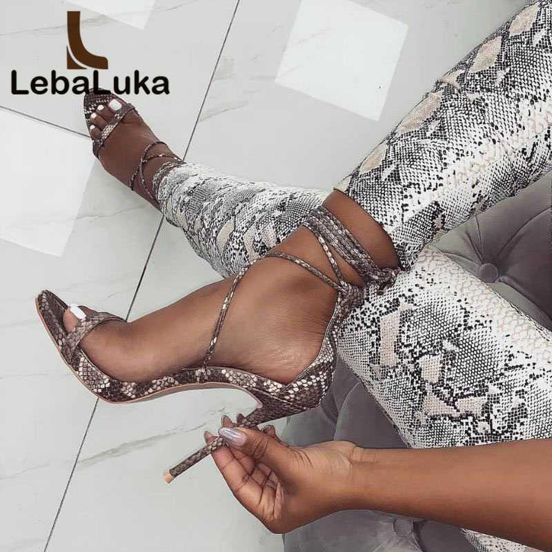 LebaLuka Femmes À Talons Hauts Sandales Sexy Peau de Serpent Motif Cheville Sangle Chaussures Femmes Party Club Mince Talons Chaussures Taille 35- 40