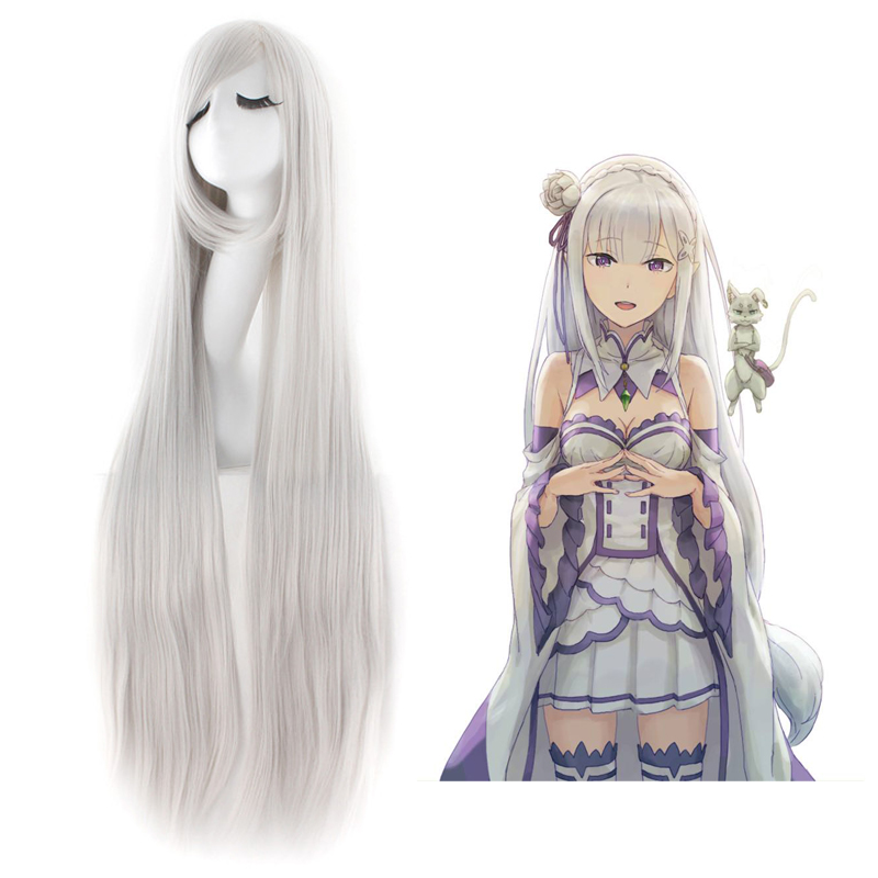 Re:Life in a different world from zero Emilia 100cm Straight Wig Silver Gray Anime Costume Cosplay Wig Halloween Wig Free Cap
