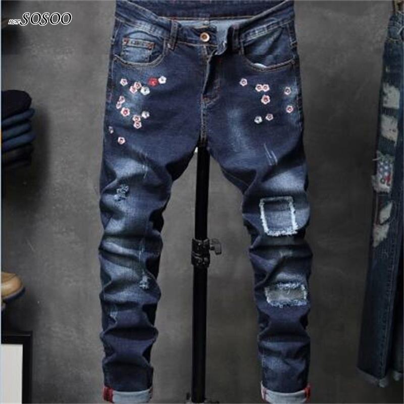 2018 New brand men Biker jeans creases denim pants beggars jeans Fashion stretch Skinny men jeans size 29-38 #8833