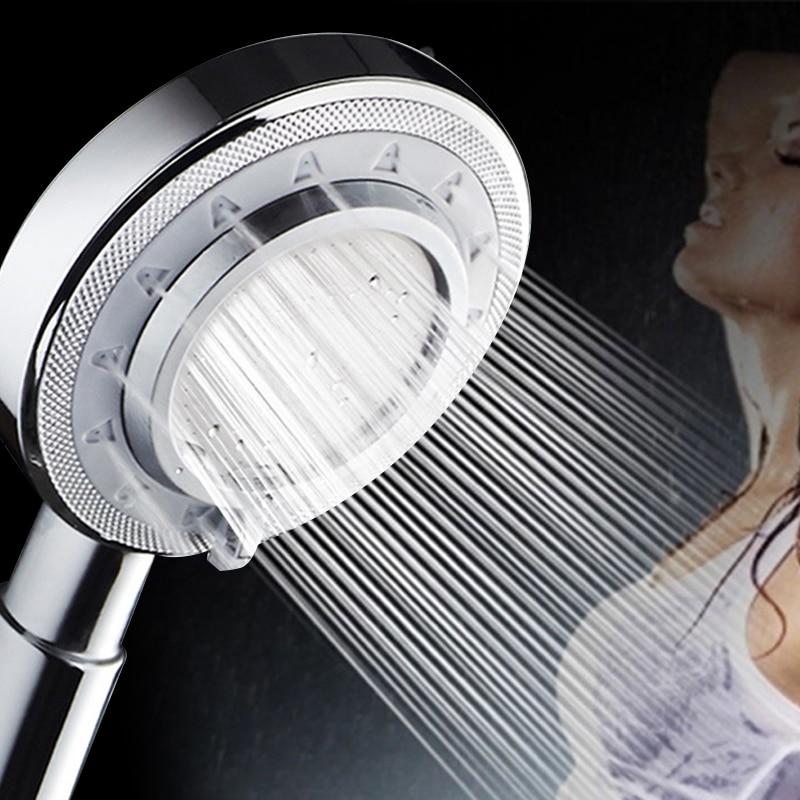 Aluminum Metal Shower Head Handheld Booster High Pressure Showerhead Rain Shower Nozzle Washable Bathroom Spray Sprinkler