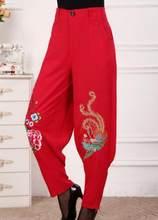 4c386de12c Xl-3xl caliente 2018 mujeres primavera nueva moda de algodón y lino  Pantalones flores bordadas