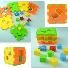 Baby Multi Shape Sorter Intelligence Box Cognitive Match Building Blocks Activity Cube Early Educational Toys For Children Gift