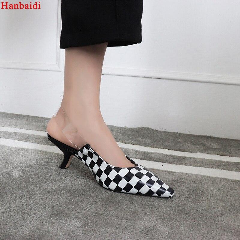 цена на Hanbaidi Luxury Brand PVC Women Pumps Sexy Snakerskin Pointed Toe Buckle Strap Women Sandals Black Runway Party Dress Shoe Women