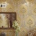 Clássico moderno de Luxo 3D Em Relevo Reuniram Damasco Floral Wallpaper não-tecido Papel De Parede para o Quarto Sala de estar & TV fundo