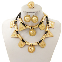Fine Sets Exotic Bride Wedding Black Rope Necklace Earrings Ring Gold Jewelry Accessories New Fashion Women Geometry Jewelry