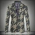 2016 Новый Дизайн Марка Blazer Пальто Мужчины Плюс Размер 5XL Корейской Slim Fit Мужская Цветочные Куртка Blazer Masculino Мужской Костюм Homme