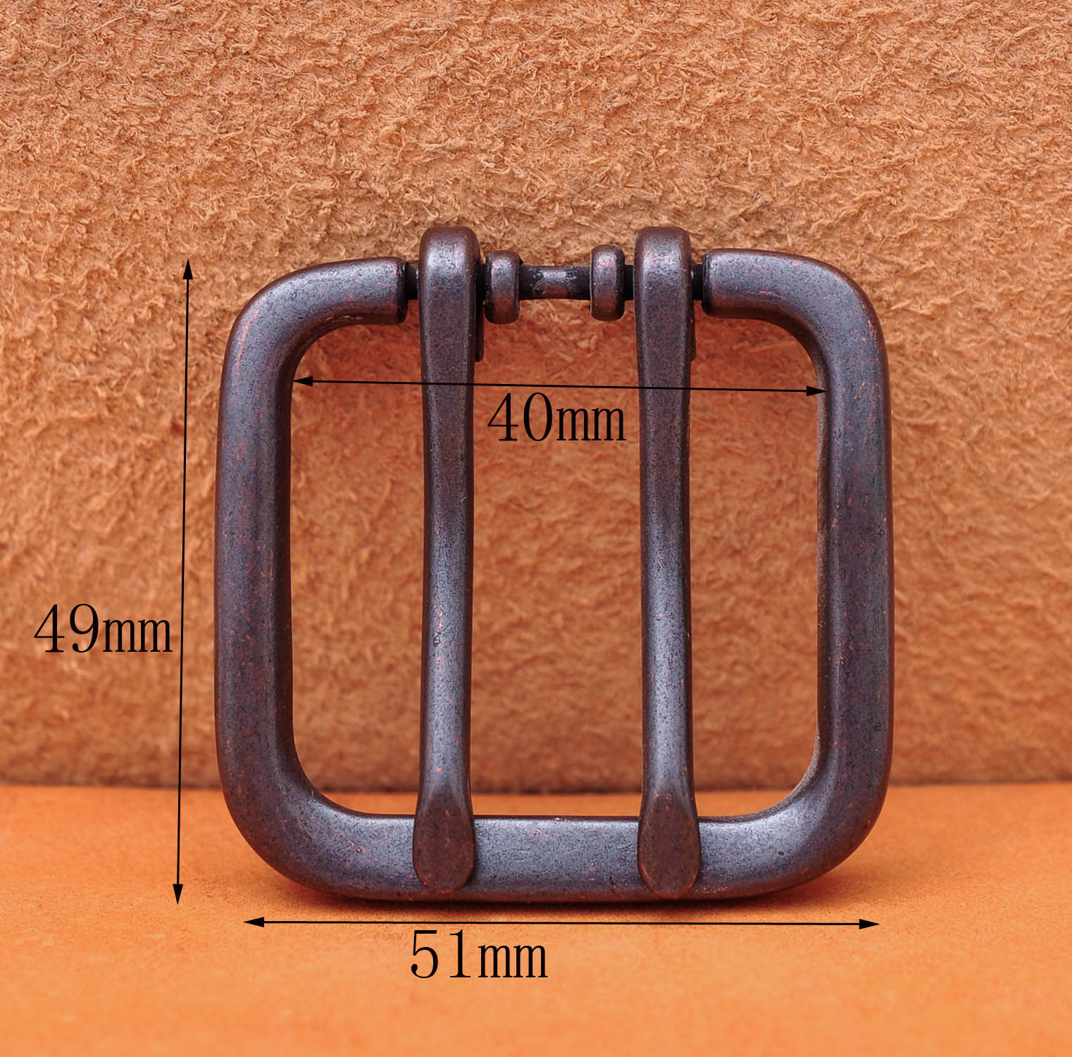 51*49MM  (INNER 40 MM) Wide Double Tongue Pin Roller Prong Pin Belt Black Buckle Fits Belt Straps