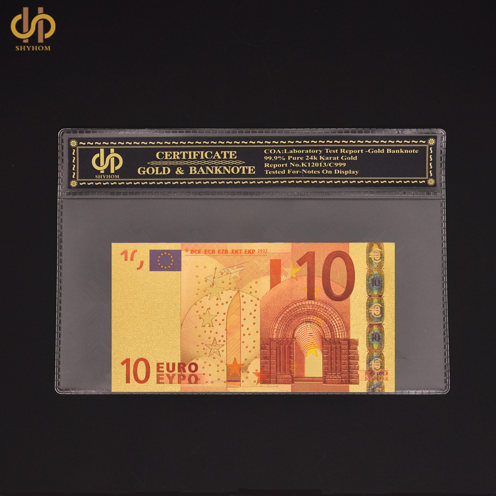 Euro Bank Notes Color Gold Banknote Euro 10 World Currency Bill Collectible in Plastic Sleeve Protection