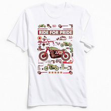 цена на Brand New Men T Shirt Ride For Pride Top T-shirts Moto Biker Tees O Neck All Cotton Short Sleeve Summer Autumn Tee-Shirts 80s