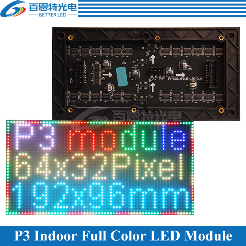 P3 LED Screen Panel Module Indoor 3in1 RGB SMD 1/16 Scan 192*96mm 64*32 Pixels Full Color P3 LED Display Panel Module