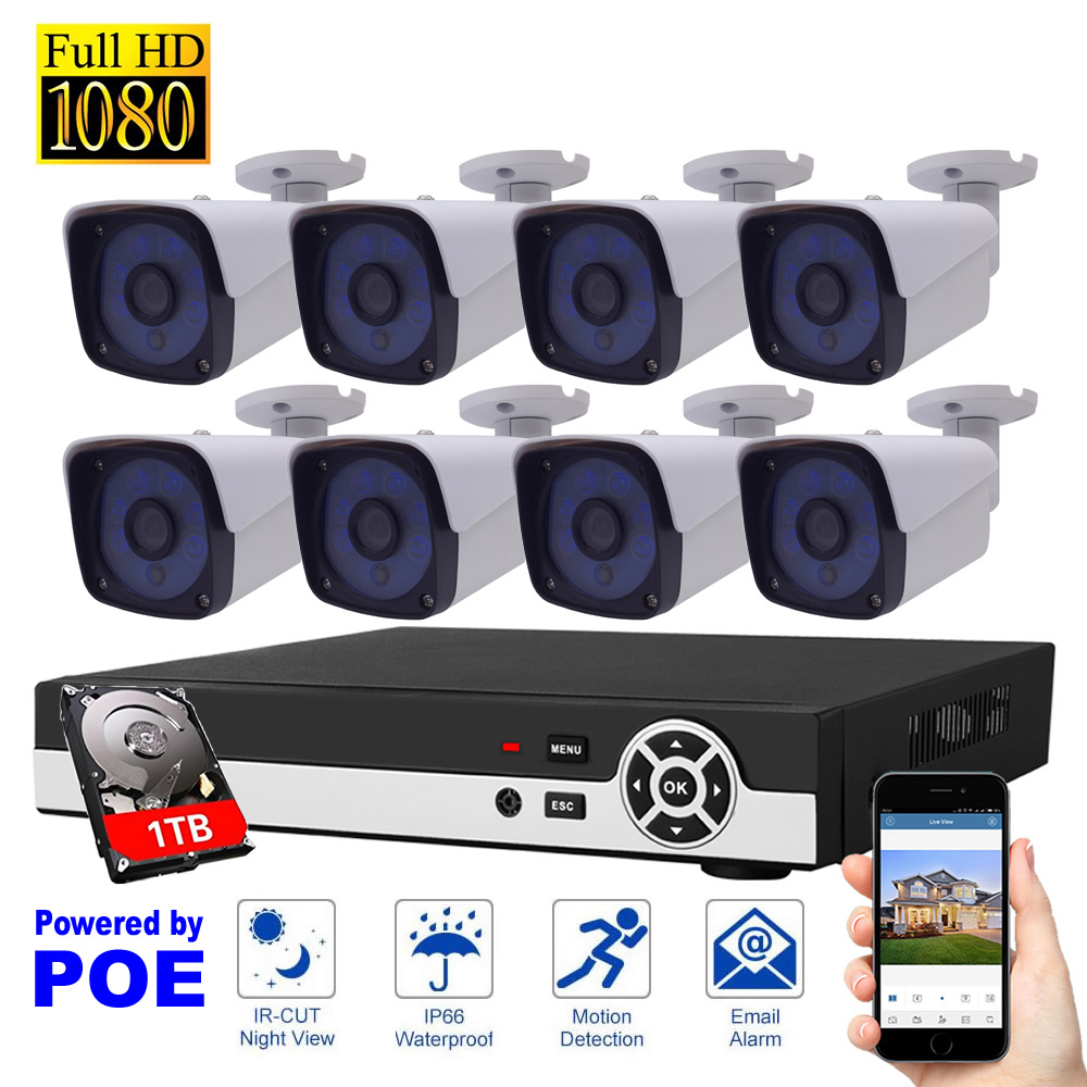 8CH CCTV Camera System 1080P POE IP Camera System 1TB HDD Security System Motion Detection HDMI Home Surveillance System system