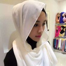 2017 Scarf Women Muslim Muslim Islamic Scarf Scarves Sale Real Adult Plain Hijabs Cotton Pearlchiffon Drilling Style Women's
