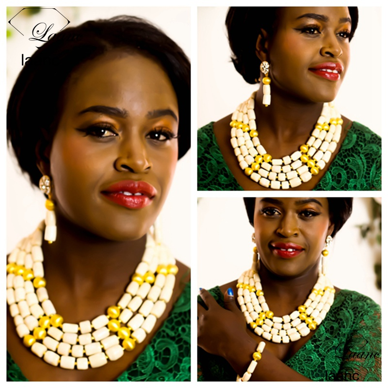 Laanc Brand Nigerian Wedding African White Coral Beads Necklace Jewelry Free Shipping AL280