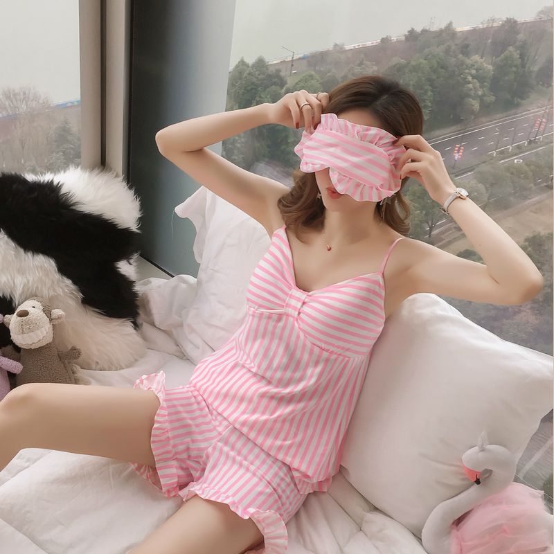 Factory Sale 2019 New Women Pajamas Set Sexy Home Sleepwear Shortless Sleeve Pyjamas Comfortable Girl Short Pajamas Pant Night