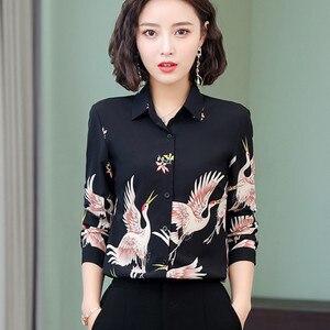 Image 2 - 2019 nouveau printemps mode imprimé chemise femmes OL tempérament rétro à manches longues en mousseline de soie blouses bureau dames grande taille haut formel
