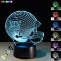 NFL New York Giants Visual 3D Led Night Light Capacete de Futebol Ilusão Lâmpada de Cabeceira criativo 7 Cores Brinquedo de Aniversário Presente de Ano Novo