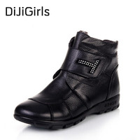 The New Winter Boots Leather Shoes Slip Mother Plush Warm In The Elderly Snow Boots Female