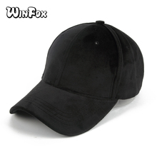 Winfox New Fashionable Women Mens Black Grey Red Suede Baseball Caps Casquette Snapback Hip Hop Hats Gorras