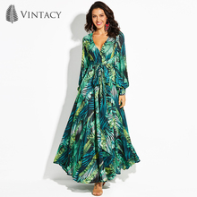 Vintacy Women's Maxi Dress Floral V-Neck Plant Print Lace-Up Ankle-Length Pullover 2017 Modern Fashion Girls Women's Maxi Dress