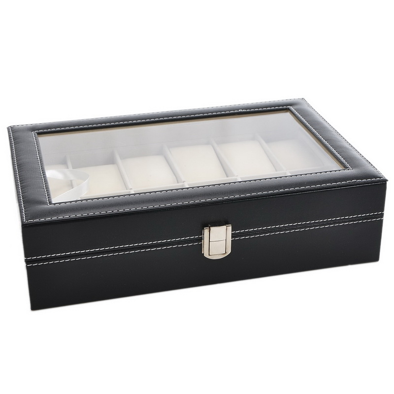 Urijk 1PC Black PU Leather Jewelry Case For Watch Box Storage Boxes Holder Best Birthday Gift Desktop Organizer Dropshipping ...