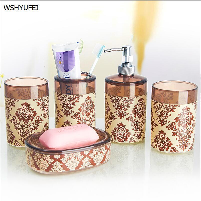 5pc acrylic elegant soap dish dispenser shampoo bottle toothbrush holders box storage organizer bathroom accessories set