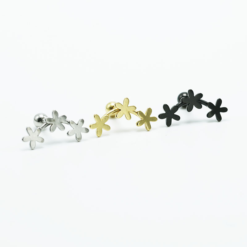 2PCS Fashion Flower Cartilage Earrings Titanium Stainless Steel Silver Gold Black Helix Brincos Pendientes Body Piercing Jewelry3