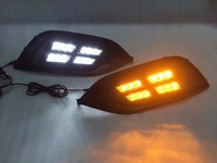 eOsuns led drl daytime running light for Opel Insignia, with yellow turn signal, top quality