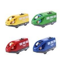 Электронный Поезд автомобиль игрушка Магнитный деревянный слот литья под давлением подарок для детей
