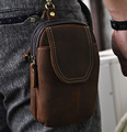 "2016 New Top Quality Genuine Real Leather Cowhide men vintage Brown Small Hook Belt Bag Waist Pack 5"" Phone Case"