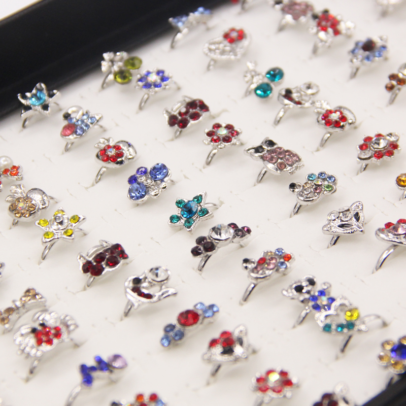 Wholesale Mix Lots 100Pcs Cute CZ Crystal Bow Cat Heart Design Children Kids Silver Plated Adjustable Rings Fashion Jewelry Chil