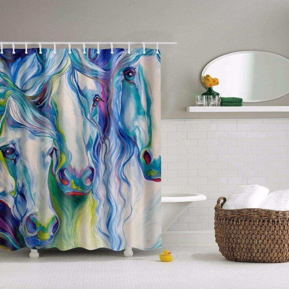 Svetanya Color Horse Print Shower Curtains Bath Products Bathroom Decor  with Hooks Waterproof 71x71 Online Get Cheap Horse Shower Curtain Hooks  Aliexpress com  . Teal Shower Curtain Hooks. Home Design Ideas