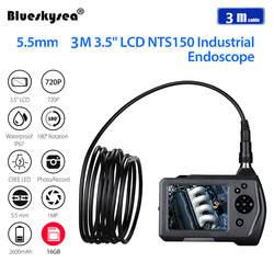 """Eyoyo камера для осмотра скважин 5,5 мм объектив 3 м жесткий кабель 3,5 """"lcd эндоскопическая камера DVR эндоскоп бороскоп HD 6 шт. светодиодный видео"""
