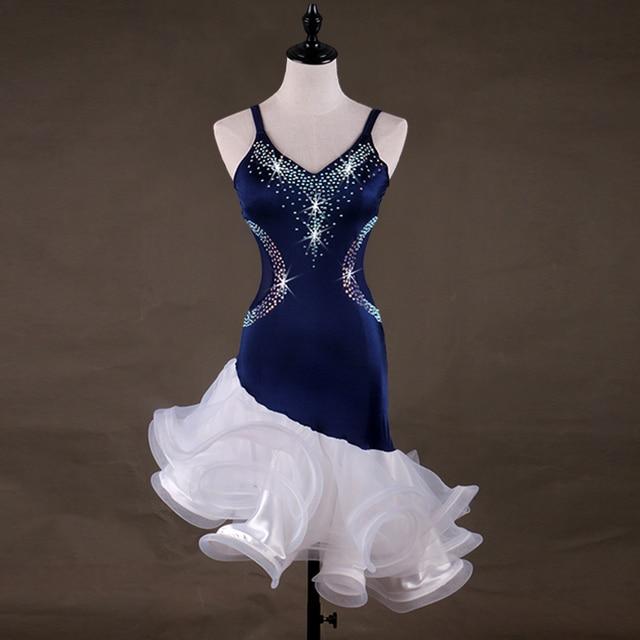New Summer Ladies Women Latin Dance Dress M-XXXL Size  Performance Fan Dance Dress Roupa Ginastica Samba Costume DQ11264